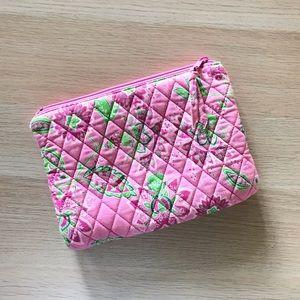 Pink floral zippered bag